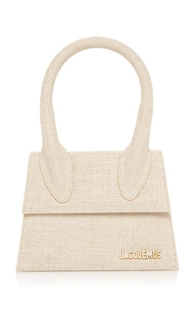 Jacquemus Le Chiquito Moyen Linen Top Handle Bag in white