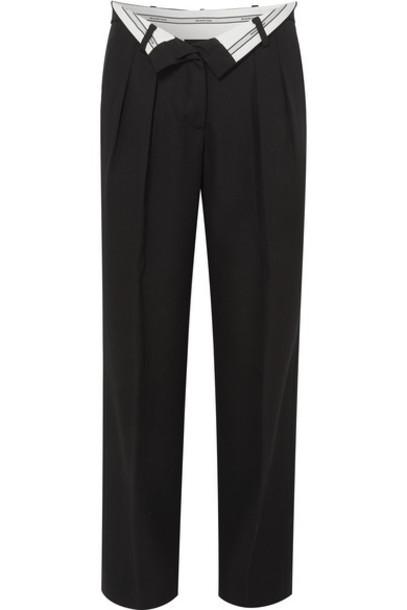 Alexander Wang - Fold-over Wool Pants - Black