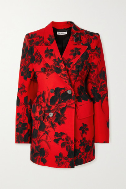 Balenciaga - Hourglass Floral-print Wool-crepe Blazer - Red