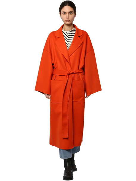 LOEWE Belted Wool & Cashmere Cloth Coat in orange