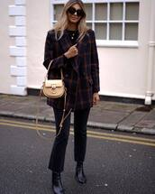 jacket,blazer,navy,plaid,double breasted,black boots,cropped jeans,black jeans,bag,black sweater