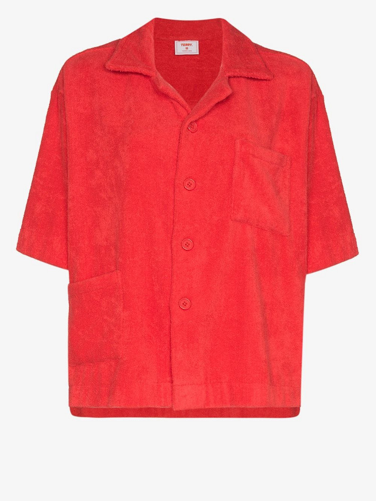 All Things Mochi terry cotton boxy shirt in red
