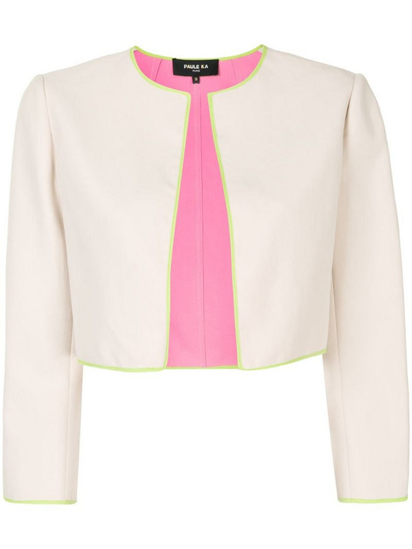 Paule Ka contrast-trimmed cropped jacket in neutrals