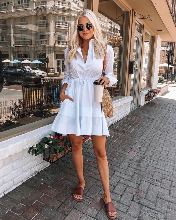 dress white dress mini dress slide shoes shoulder bag