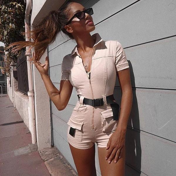romper tight belted denim romper beige zip safari pockets khaki high waisted