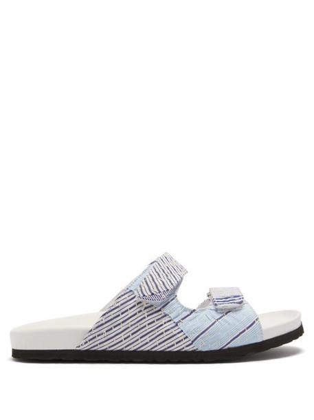 By Walid - Yves Striped Textile Sandals - Womens - Blue Stripe
