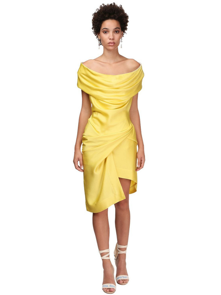 VIVIENNE WESTWOOD Devana Draped Satin Mini Dress in yellow
