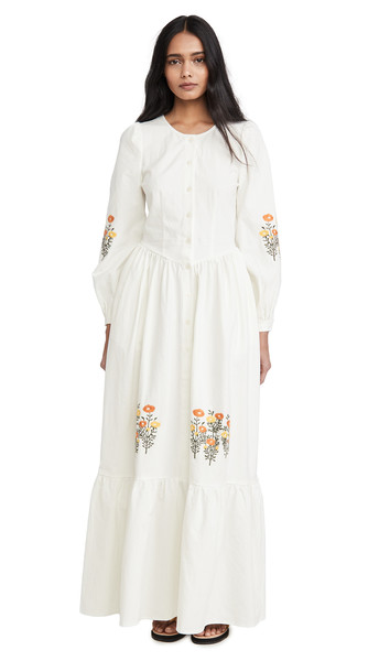 Meadows Anemone Dress in white