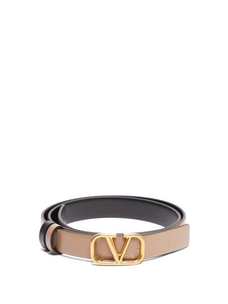 Valentino - V Logo Skinny Leather Belt - Womens - Black