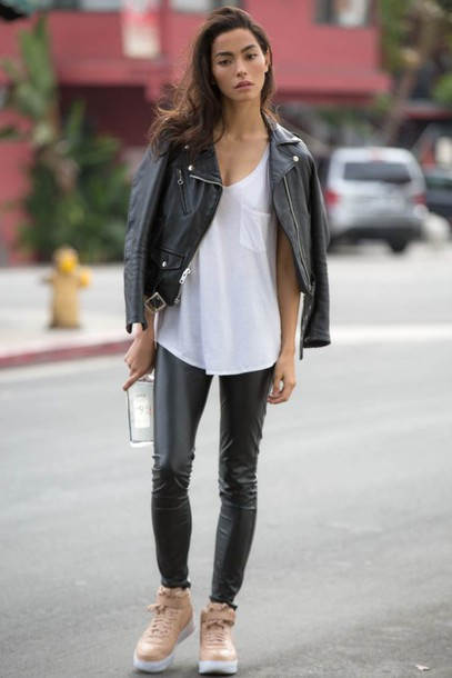 sweat the style blogger tank top leather jacket white top leather pants streetstyle
