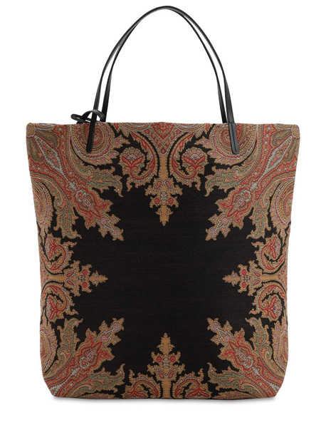 ETRO Cotton Blend Jacquard Tote Bag in black
