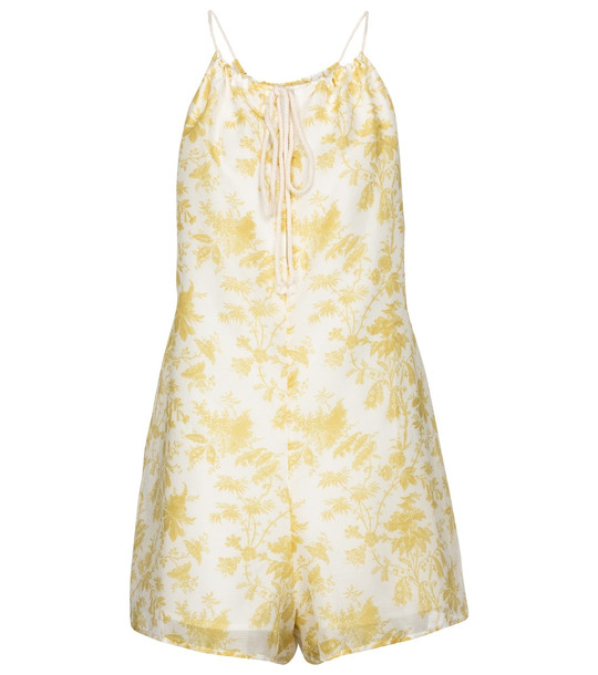 SIR Clementine cotton and silk romper in white