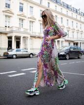 dress,maxi dress,slit dress,topshop,floral,sneakers