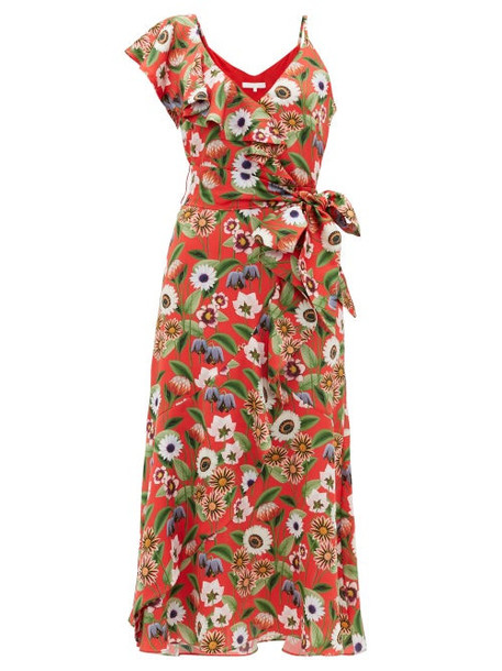 Borgo De Nor - Isadora Asymmetric Floral-print Satin Midi Dress - Womens - Red Multi