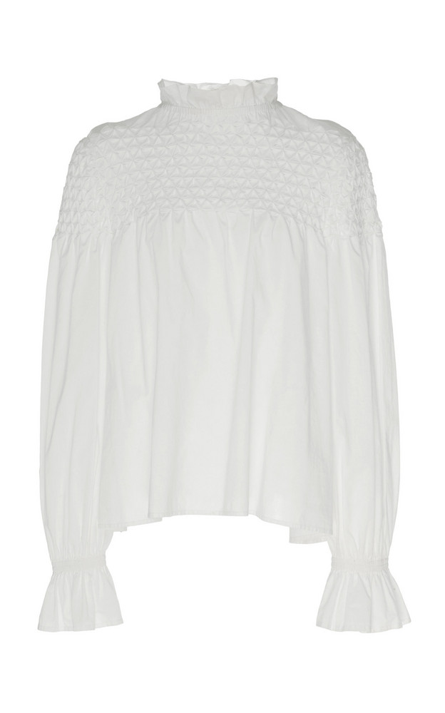 Merlette Majorelle Smocked Blouse in white