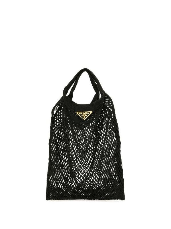 Prada Pre-Owned triangle logo mesh tote bag in black