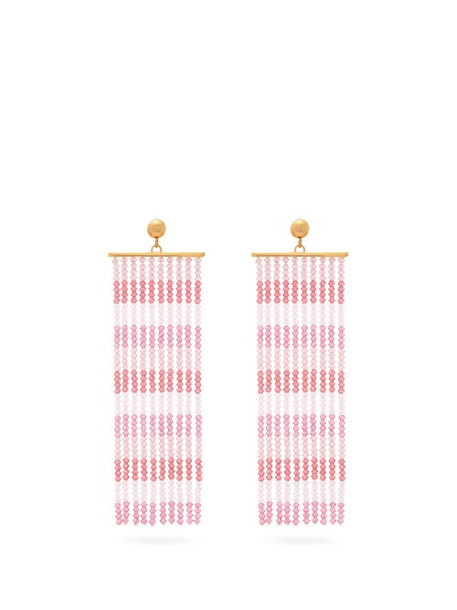 Jacquemus - Rideaux Beaded-tassel Earrings - Womens - Pink