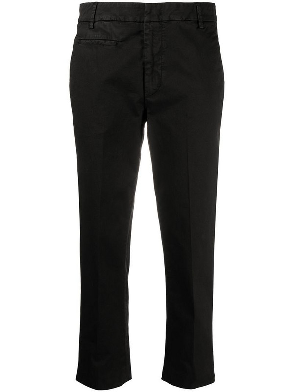 Dondup cropped cotton trousers in black