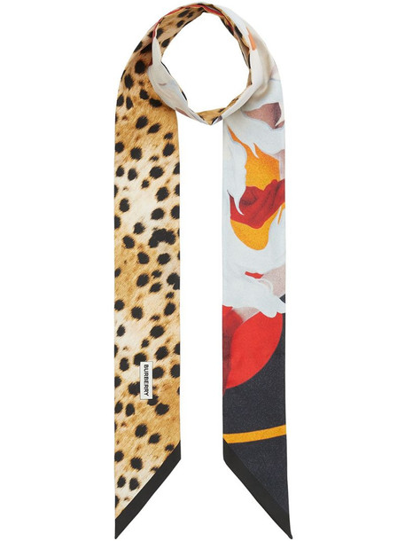 Burberry montage print skinny scarf in white