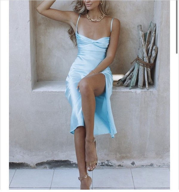 dress blue satin