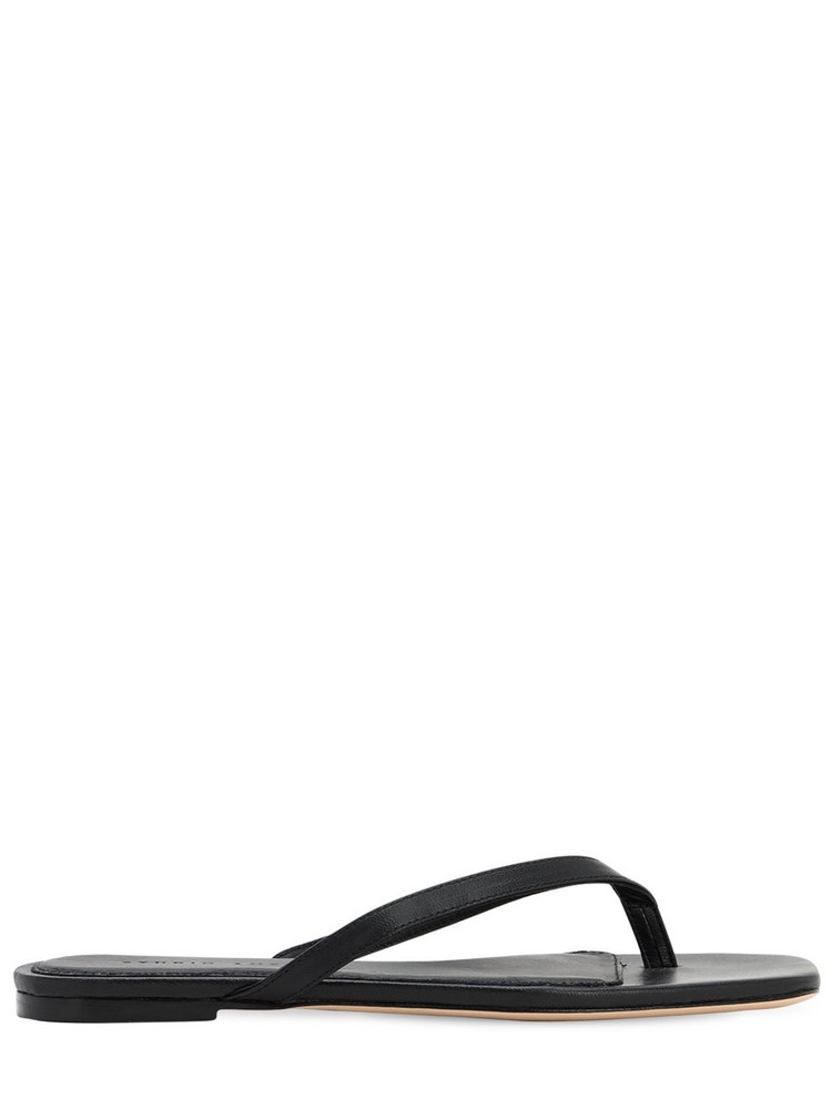STUDIO AMELIA 10mm Leather Thong Sandals in black