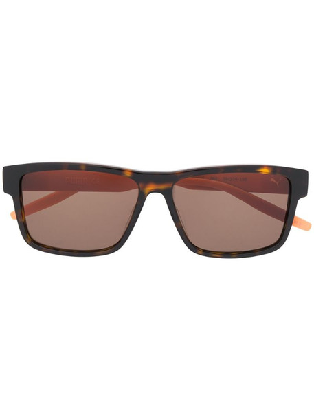 Puma tortoiseshell square-frame sunglasses in brown