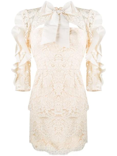 Elisabetta Franchi lace mini dress in neutrals