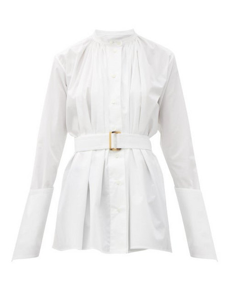 Palmer/harding Palmer//harding - Aurita Gathered Cotton-blend Poplin Blouse - Womens - White
