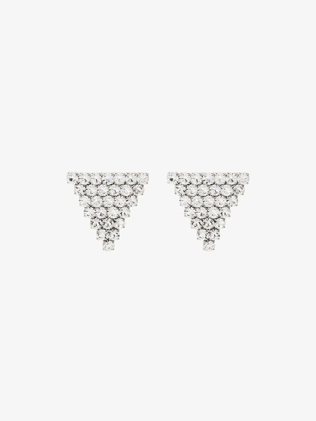 Alessandra Rich silver tone triangle crystal earrings