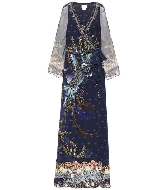 Camilla Embellished silk maxi dress in blue