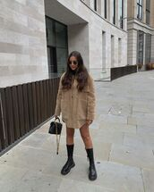shoes,knee high boots,combat boots,shearling jacket,black bag