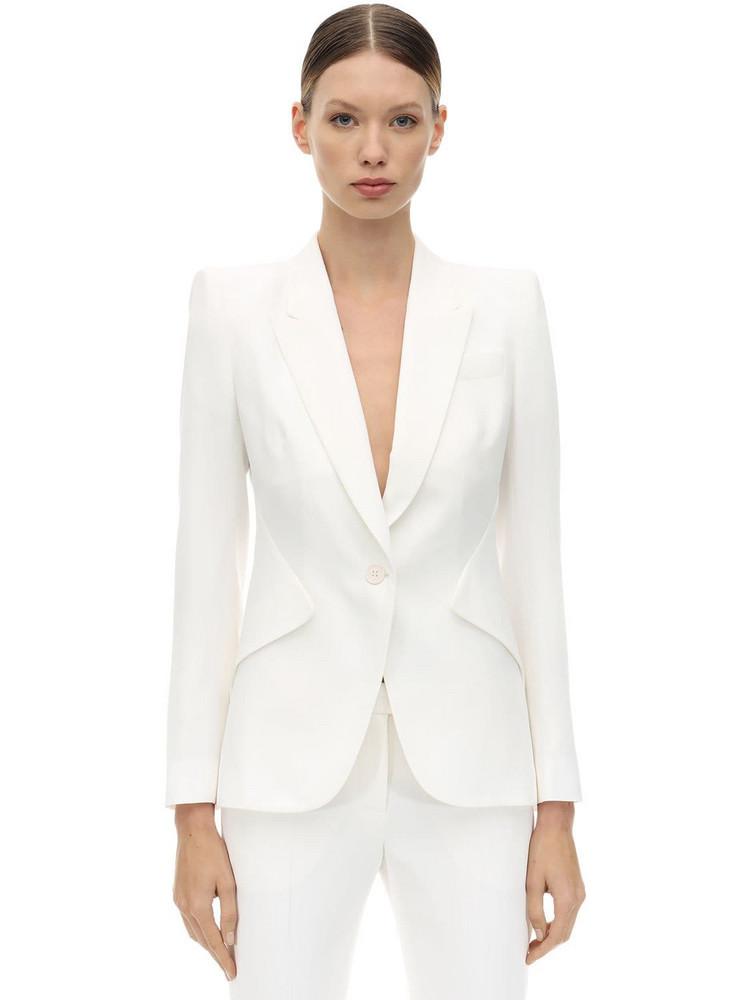 ALEXANDER MCQUEEN Leaf Crepe Single Breast Blazer Jacket in white