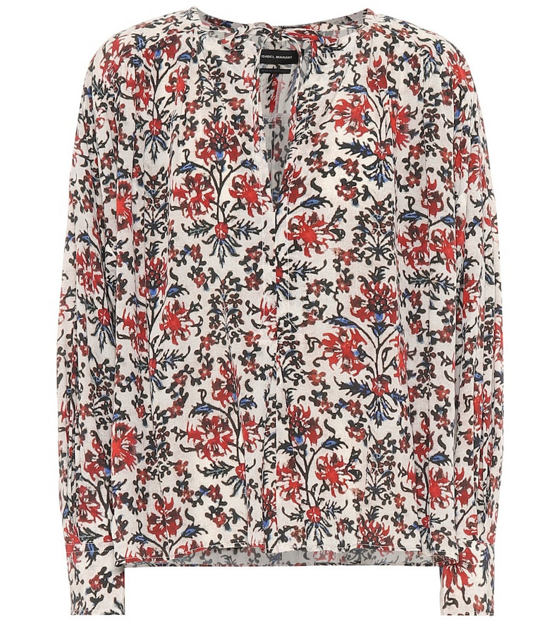 Isabel Marant Amba floral stretch-silk blouse in red