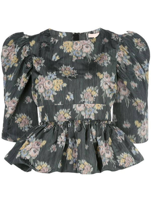 Brock Collection peplum floral print blouse in green
