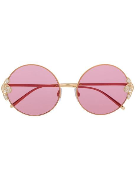 Dolce & Gabbana Eyewear pearl-embellished round-frame sunglasses in gold