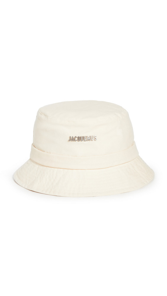 Jacquemus Le Bob Bucket Hat with Logo in white