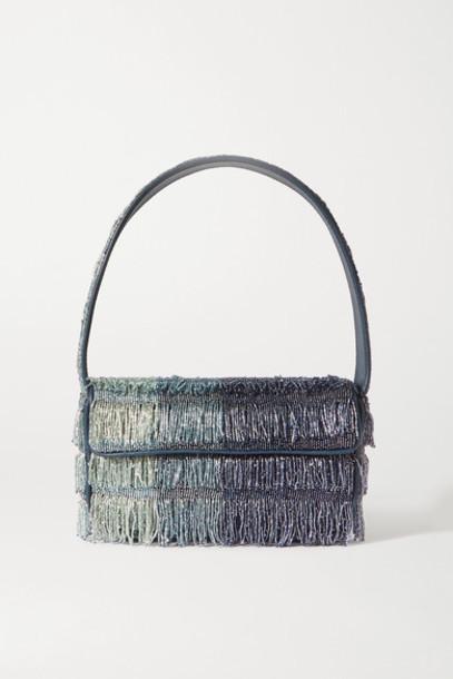 STAUD - Tommy Leather-trimmed Fringed Ombré Beaded Shoulder Bag - Blue