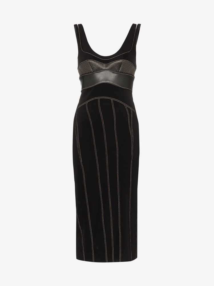 Mugler bustier contrast stitch dress in black