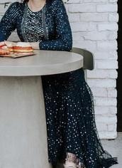 dress,navy,sequins