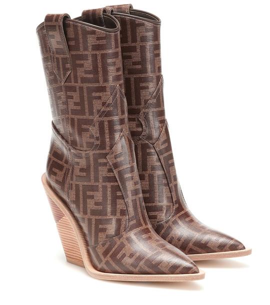 Fendi Printed cowboy boots in brown
