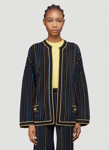 Gucci Rainbow Metallic-Knit Cardigan in Black size M