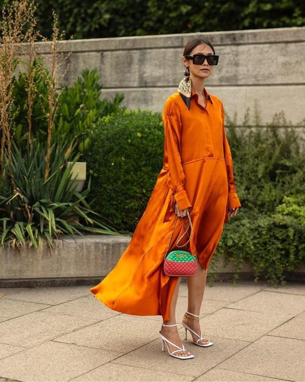 dress orange dress midi dress white sandals bag