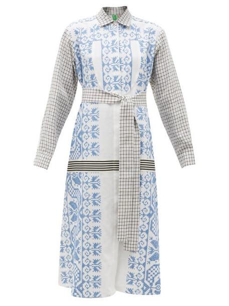 Rianna + Nina Rianna + Nina - Vintage Cross-stitch & Checked Cotton Shirt Dress - Womens - Multi