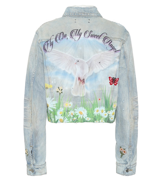 Amiri Oversized printed denim jacket in blue