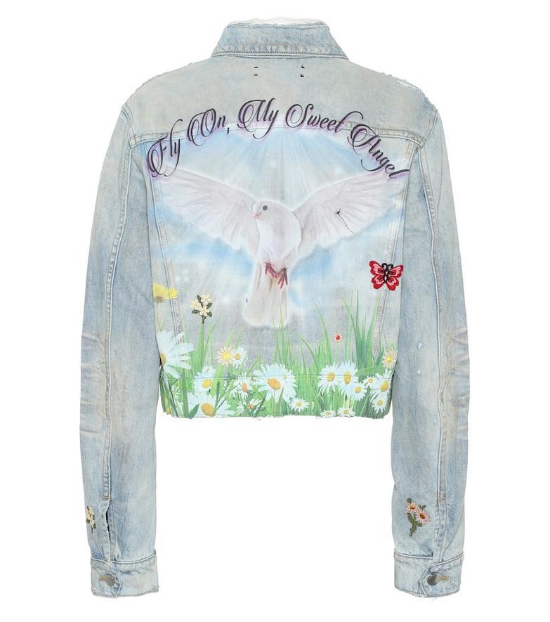 Amiri Oversized printed denim jacket in blue