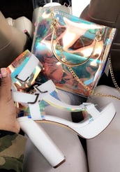 bag,hologram purse,doll kill,shoes