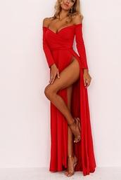 dress,girly,girl,girly wishlist,red,off the shoulder,off the shoulder dress,maxi dress,maxi,slit dress,slit,red dress