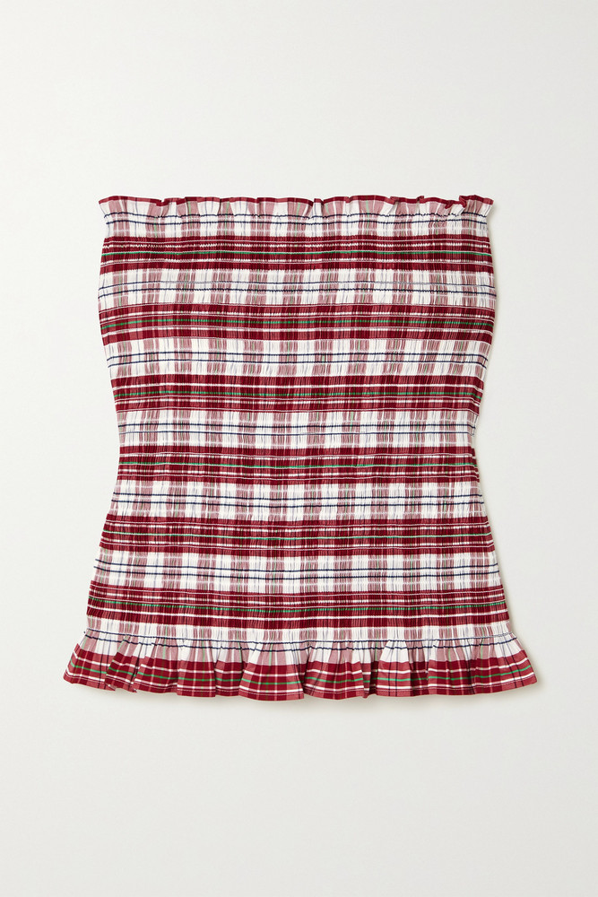 MOLLY GODDARD - Kim Strapless Ruffled Shirred Checked Cotton-blend Top - UK8 in red