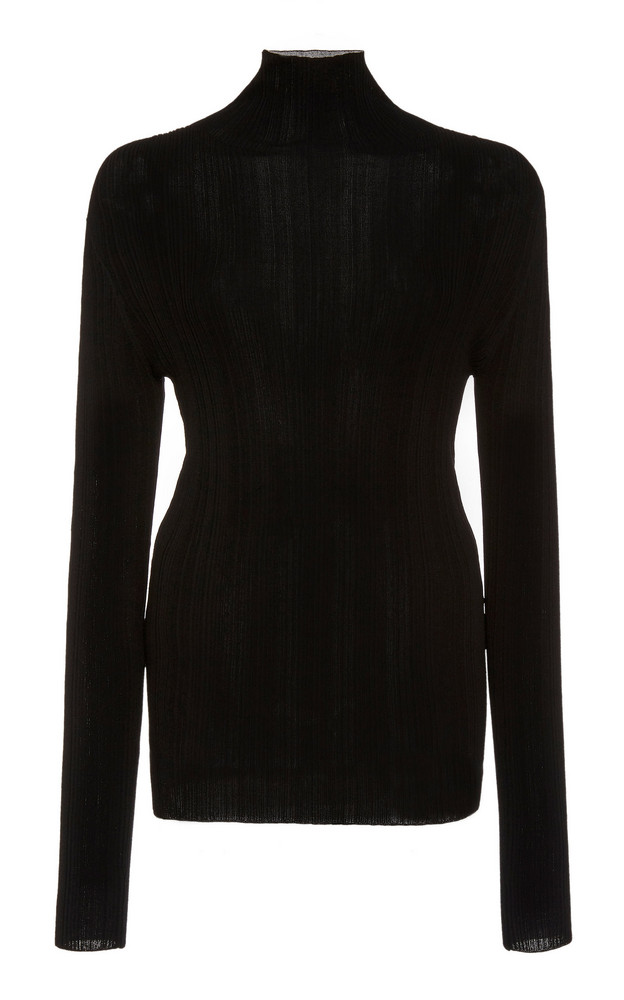 Toteme Narano Ribbed Jersey Turtleneck Top in black
