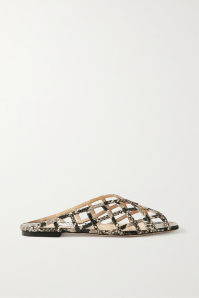Jimmy Choo - Sai Snake-effect Leather Sandals - Snake print
